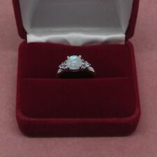 Sterling Silver Rainbow Moonstone ring cz accents Size 7 925 Sterling    b2