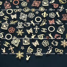 200 Pcs 3D Metal DIY Nail Art Tips Stickers Decal Golden Slices Decoration SG202
