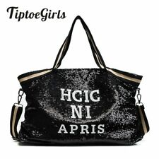 H-Women's Sequin Messenger Handbags Shoulder Bags Satchel Purse Large Capacity