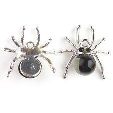 12pcs Black Rhinestone Spider Animal Alloy Charms Pendant For Halloween Costume