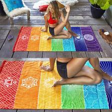 Rainbow Boho Beach Mat Mandala Blanket Striped Wall Hanging Tapestry Yoga Mat