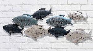 Wanddekoration Fische aus Metall Creme Blau