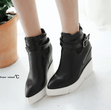Women Pointed Toe Wedge Heels Ankle Boots Punk Leather Vintage Party Shoes Black