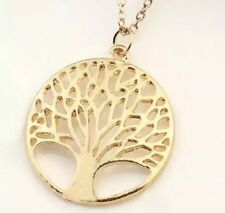 925 Rose Gold Plate Tone Tree Of Life Pendant Chain Necklace Women's Jewellery
