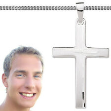 Männer Juwelier Kreuz Anhänger mit 1,7 mm Kette 55 cm massiv Echt Silber 925