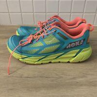 Hoka One One Clifton 1 Aqua/Neon/Green Running Athletic Shoes Women's Size 10