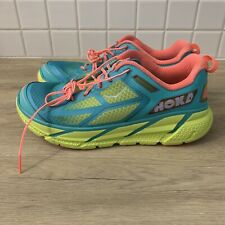 Hoka One One Clifton 1 Aqua/Neon/Green Running Athletic Shoes Women's Size 10