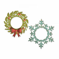 Tim Holtz Sizzix Thinlits Die ~ WREATH & SNOWFLAKE ~ Alterations 664210