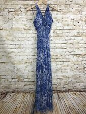Gilar Beaded Evening Formal Gown Pageant 100% Silk Floral Spaghetti Strap Blue 4