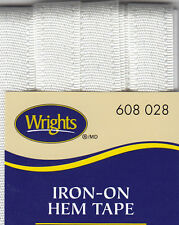 WRIGHTS OYSTER IRON ON HEM TAPE-3 YARDS-NO SEW, REPAIR,CLOTHING