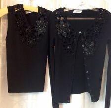 Moschino Sweater Set Black Beaded Size 6 NWT $910