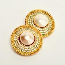 SIGNED CHANEL FRANCE PEARL  WITH RHINESTONE CLIP ON EARRINGS