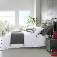DOUBLE SIZE WHITE GREY BEDDING SET Luxury Tassel Duvet Quilt Cover & Pillow Case
