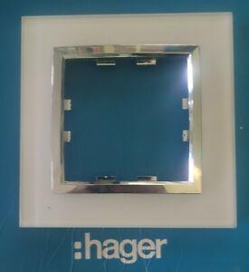 HAGER WK801 Kallysta épure plaque 1 poste verre coloris Cristal Alba