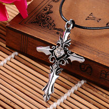 Charm Stainless Steel Red White Crystal Cross Pendant Jewelry Men Women Necklace