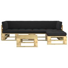 vidaXL Kiefer Grün Imprägniert Palettenmöbel 4-tlg. Sofa Gartenmöbel Lounge