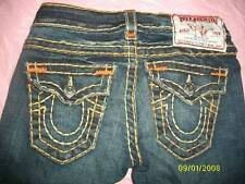 True Religion BILLY Super T Low Rise Jeans Row Seat Flap Pockets Size 24 (24x33)