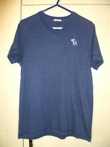 "ABERCROMBIE & FITCH - ORIGINAL ""MUSCLE"" BLUE V-NECK T-SHIRT (M)"