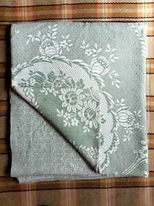 Vintage Cotton Throw Green White 238cms X 194cms