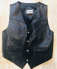 Purushyani Mens Leather Motorcycle Vest Size M Black Western Suit