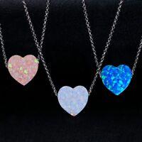 925 Silver Love Heart Design Necklace Pink Multi-Color Fire Opal Gems Pendant