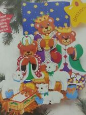 Nativity XMAS Stocking Kit Sunset Embroidery Felt Applique Dimensions Wise Bears