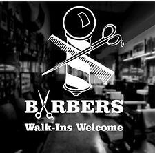 2 x Barber Shop Window  Wall Sticker Choice of Colours Water-proof Sign-Making