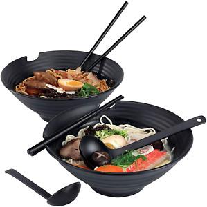 Japanese Ramen Bowl 2 Set Large Vintage Noodles Bowl 1000ml Black 6pcs Sets