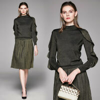 New Spring Fall Winter 2pcs Women Set Ruffled Knitted Sweater Skirt Suit Outfit
