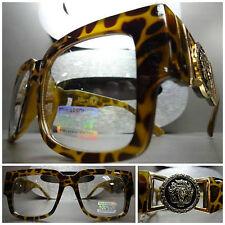 VINTAGE HIP HOP RAPPER PARTY CLUB Clear Lens EYE GLASSES Tortoise & Gold Frame