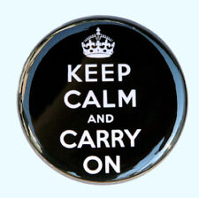 """KEEP CALM AND CARRY ON BLACK - Pinback Badge 1.5"""""""