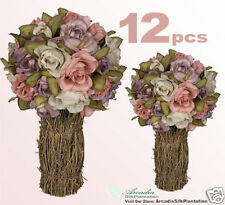 "12 Rose Topiaries Silk Flower Wedding Centerpieces 12"""