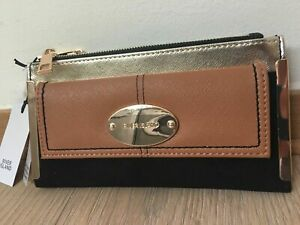 River Island Black oval RI branding fold out purse new with tags