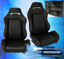 Reclinable Bucket Seats Chairs Sport Racing Bottom Mount Slider Black Fits Cts V