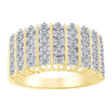 0.01 Cttw Round Cut Diamond Accent Dom Ring 14K Yellow Gold Over