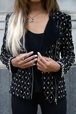 Rare! ZARA Black Velvet Pearl Beaded Embroidered Biker Jacket Blazer Medium M