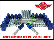 BMW EXTENDED STUD CONVERSION KIT 12X1.5 | 57MM | + 20 BLUE CHROME LUG NUTS