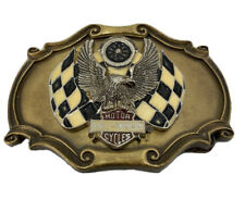Vintage 70s Harley Davidson Eagle Racing Flags Brass Biker Belt Buckle Raintree