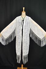 Classic White Sheer Eastern Flower Burnout Velvet Fringe Jacket Kimono Duster