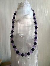 Edelstein Collier aus Amethyst Kugeln, hell, dunkel und transparent (Halskette)