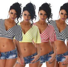 Neu Damen Cropped Shirt Crop Top gestreift bauchfrei Party Freizeit Mode S 34 36