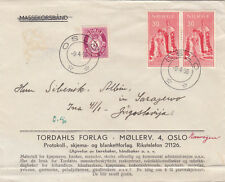 NORWAY  1956  ROYALTY   FRANKING COVER FROM OSLO TO BOSNIA YUGOSLAVIA