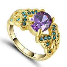 Size 9 Purple Amethyst Crystal Wedding Ring 10KT Yellow Gold Filled Jewelry