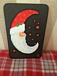 santa moon painting on wood