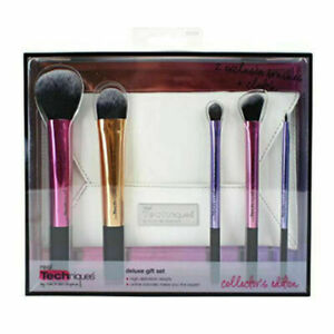 REAL TECHNIQUES MAKEUP BRUSHES DELUXE GIFT SET 5pcs COLLECTOR'S EDITION USA BNIB