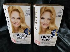 Lot of 2 Clairol Nice 'N Easy Permanent Hair Color 9 Light Blonde (Box not Mint)