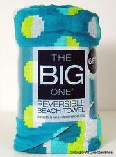 "The Big One Beach Towel Blue Aqua Dots Oversized Reversible 3' x 74"" New"