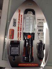 Torcia lampada faro ricaricabile 10 SMD + 6 led base magnetica rotante c/ gancio