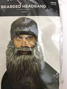 Bearded Headband Men's Adult One Size Hunter Mountain Man Camo Costume NEW