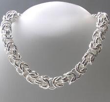 "Italian Sterling Silver Chunky Byzantine Necklace, Width 15mm, Lengths 18"" - 20"""